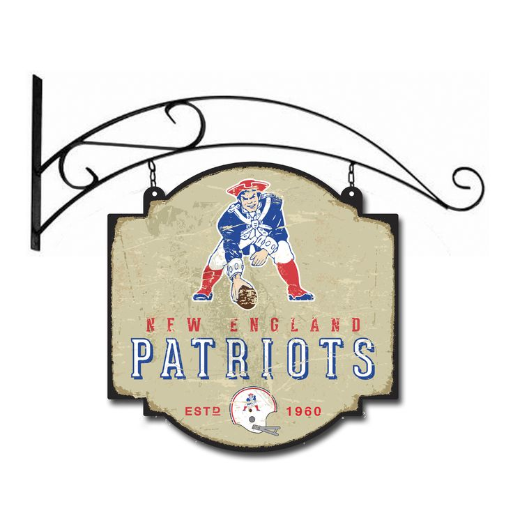 """This 16"""" x 16"""" metal sign is printed on both sides with New England Patriots logos and has been made to look like an old fashioned tavern sign. It comes with a bracket that allows the sign to be hung, or you can ignore the bracket and affix the sign directly to a wall."""