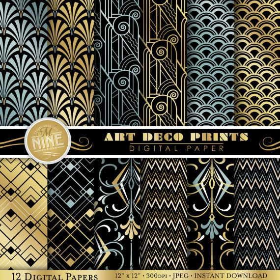 Digital Paper Pack ART DECO Pattern Prints, Instant Download, Variety of 12 Patterns Retro Backgrounds Print