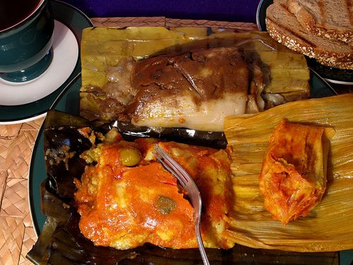 More Guatemalan tamales: Colorado, negro & chuchito. The negro is usually only made for special occasions. The sauce is chocolate-based with raisins, dried plums, and nuts.