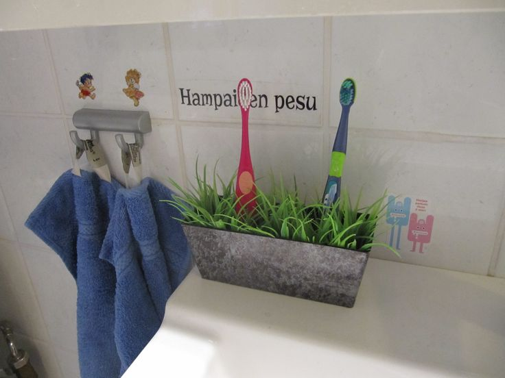Tooth brush holder, girl and boy towel
