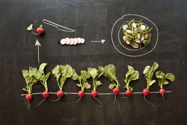 Food on a blackboard by Valentina Raffaelli, via Behance