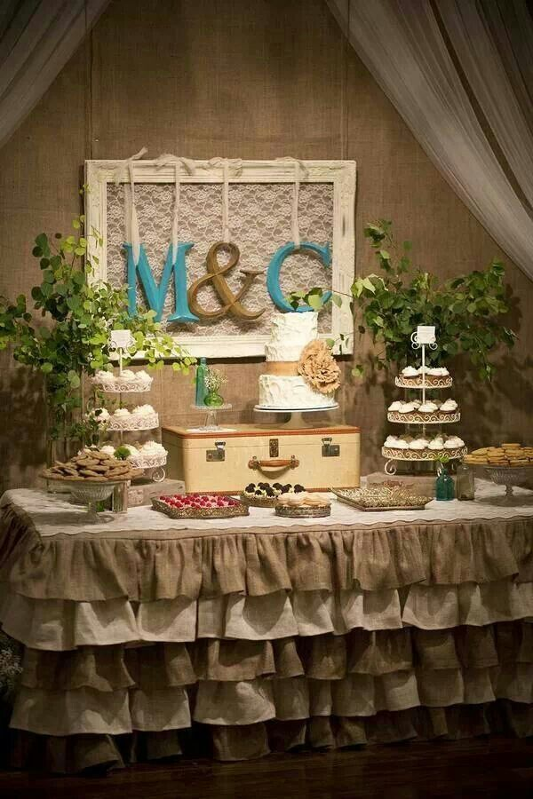 Rustic Wedding Inspiration. I think a cake and different flavored cupcakes would be wonderful...