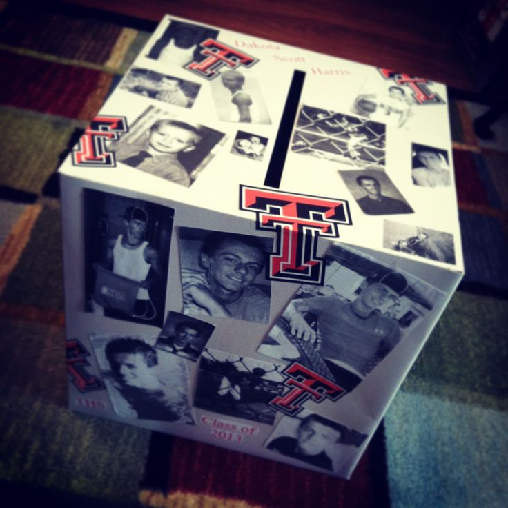 Graduation card box.. I copied photos in black and white. Printed school symbol in color. The box turned out amazing!!