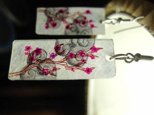 More Shrinkydink Earrings! (Cherry blossoms) [with process pictures- IMG heavy] - JEWELRY AND TRINKETS