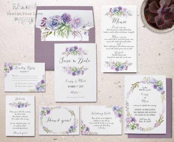 succulents wedding invitation set printable wedding invitation