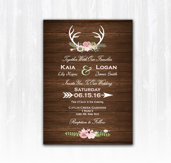 Deer Wedding Invitation DIY PRINTABLE by TreasuredMomentsCard