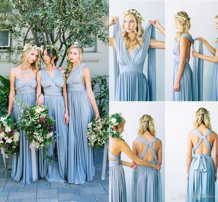 2016 Summer Bohemian Long Convertible Bridesmaid Dresses Halter Neck Sexy Backless Custom Made For Beach Country