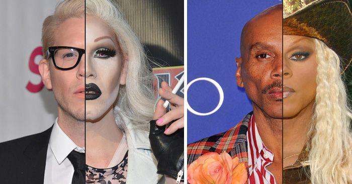 Conjunto de fotos de hombres artistas que son drag queen antes /después del maquillaje que te dejarán impactado con su habilidad con el maquillaje
