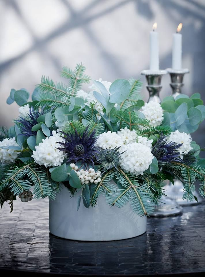 Gorgeous winter centerpiece with hyacinths, yews, eucalyptus, snowberries and globe thistle.