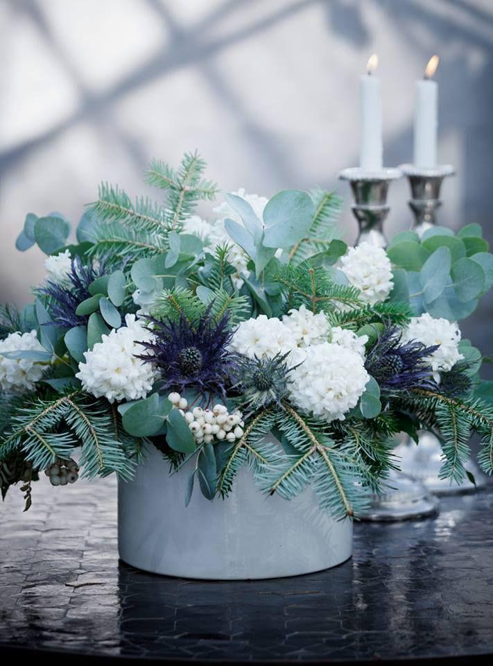 white hyacinths, yews, eucalyptus, snowberries and globe thistle
