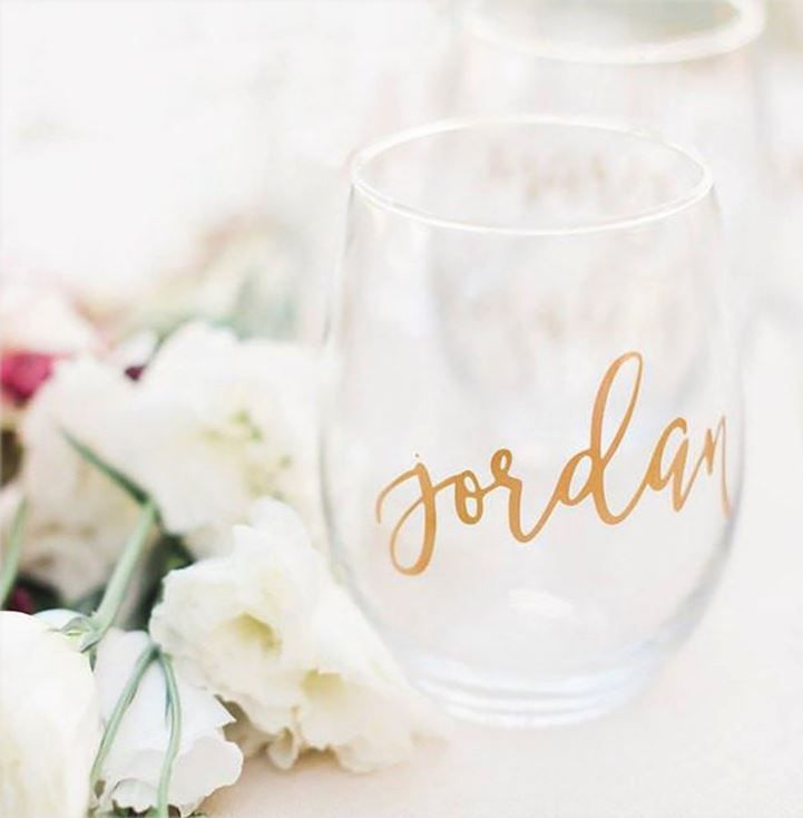 cf4676997a0 Our stemless wine glasses are perfect bridesmaid gifts! These are also  lovely for bridal showers