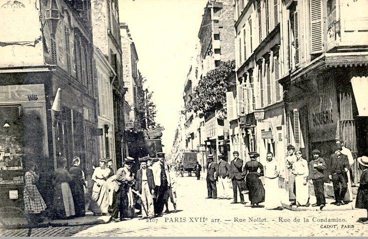 La rue Nollet vue depuis la rue La Condamine, vers 1905 (Paris 17ème)