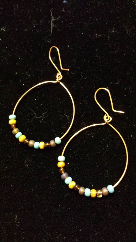 Glass Bead and Copper Wire Handcrafted Hoop Earrings by Hiawatha17, $5.00