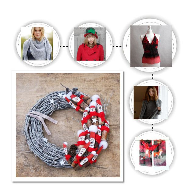 """Red and gray Christmas"" by landoflaces on Polyvore featuring moda, Christmas, handmade, redandgray i poletsy"