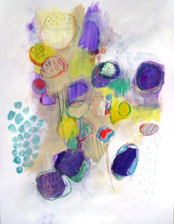 Expressionist Abstract Painting Spring Walk 2 on Paper beautiful color