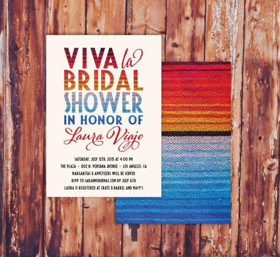 Viva La Bridal Shower Invitations - Modern, Fun and Colorful Mexican Fiesta Themed Invites - Southwestern - Margaritas - Sarape Blanket Pattern Backer - Free Custom Colors