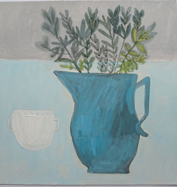 still life with blue jug + white cup