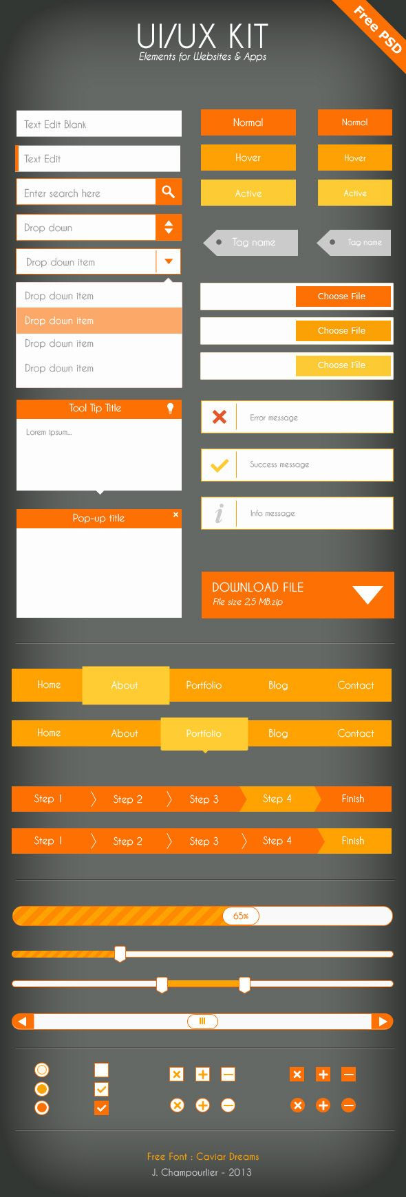 UI/UX Flat design - Free PSD by Julie Champourlier, via Behance