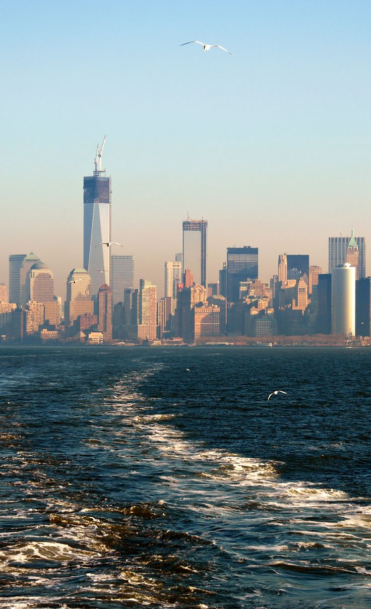 View from Staten Island Ferry, Lower Manhattan. New York, New York.