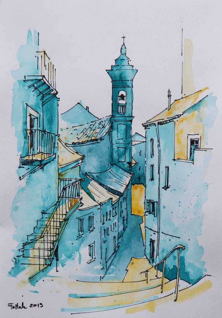 Nice, Villefranche-Sur-Mer, watercolor, 20x30 cm