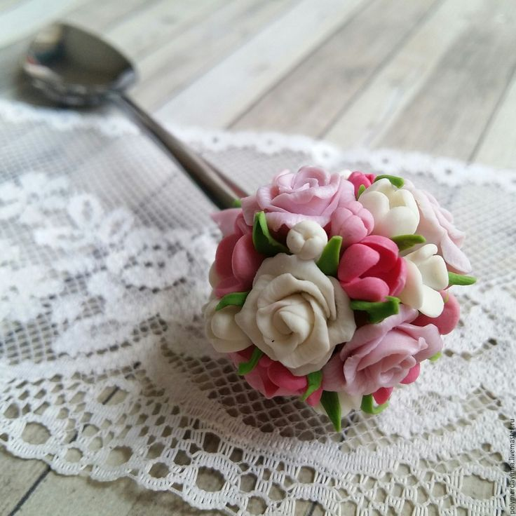 """Купить Сладкая ложка """"Букетная первая"""" - бледно-розовый, букет, сладкая ложка, вкусная ложка"""