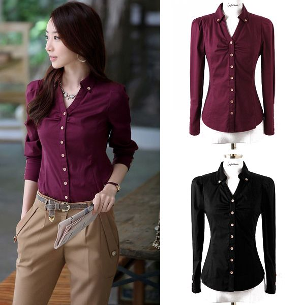 Aliexpress.com : Buy 4 Colors Office Lady Formal Blouse 2014 New Professional Clothing Size S 2XL Korea Fashion Women OL Slim Dress Shirts  ...