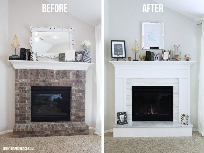 How to cover brick with wood and marble on this modern fireplace makeover  |  Intentionandgrace.com DIY's