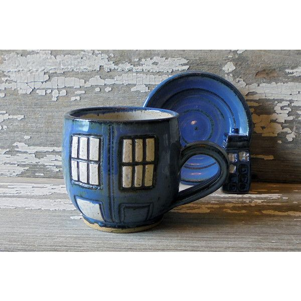 Retro Police Box Coffee Cup Doctor Who Mug Handmade Mug Retro Style... (46 AUD) ❤ liked on Polyvore featuring home, kitchen & dining, drinkware, drink & barware, grey, home & living, tea cups & sets, inspirational coffee cups, retro mugs and outdoor drinkware