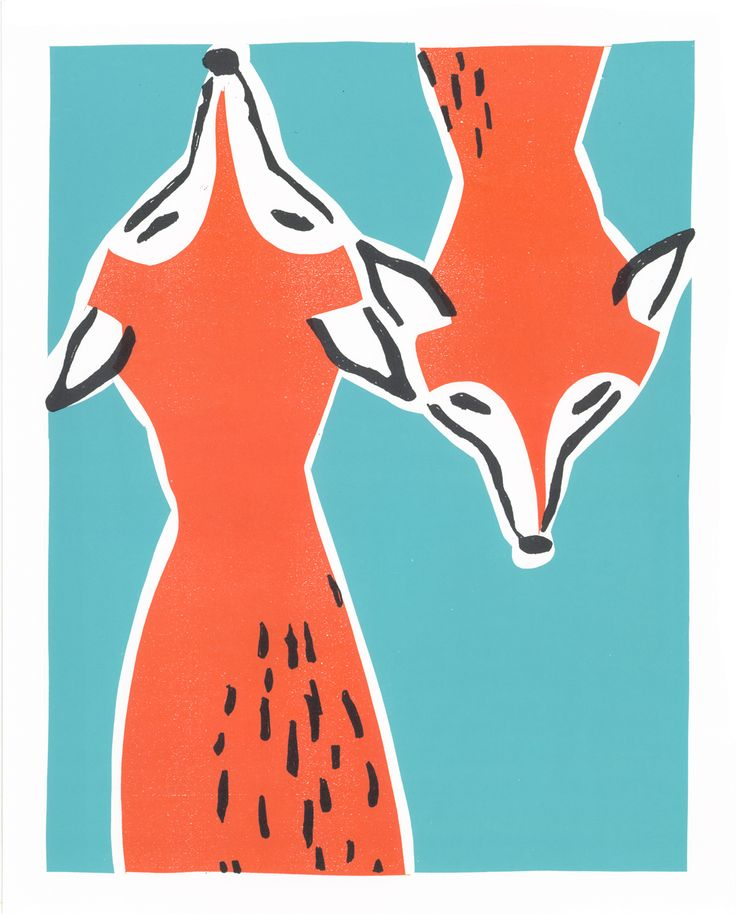 lino, print, illustration, fox, printmaking, colour, design, style, cute, drawing