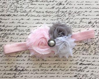 Baby Girl Headband, Baby Faixa de Cabelo, chique gasto Faixa de Cabelo, rosa claro, cinzento, cabeça branca, recém-nascido Faixa de Cabelo, Headband Inspired Vintage