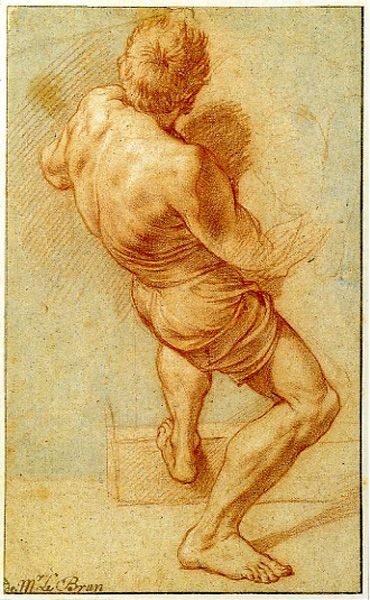 Study for Muclus Scaevola before Porsenna by Charles Le brun, ca 1642, red chalk on brown paper