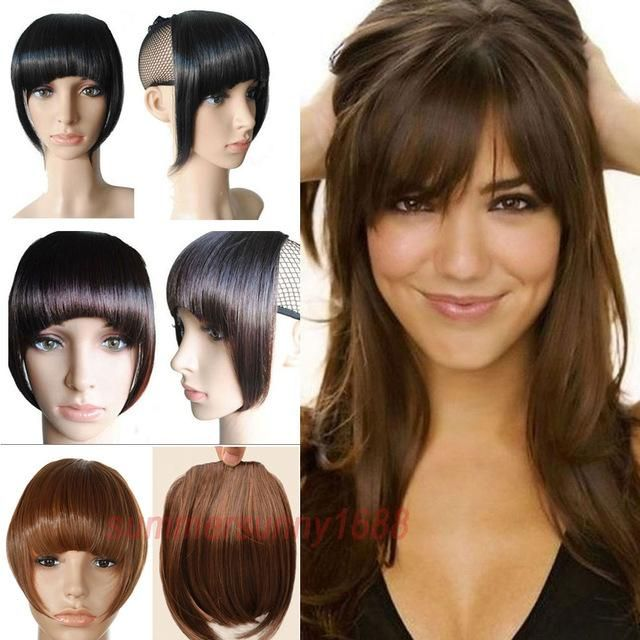 1pc 8 inch Short Front Neat bangs Clip in bang fringe Hair extensions straight High Temperature Synthetic 100% Real Natural hairpiece