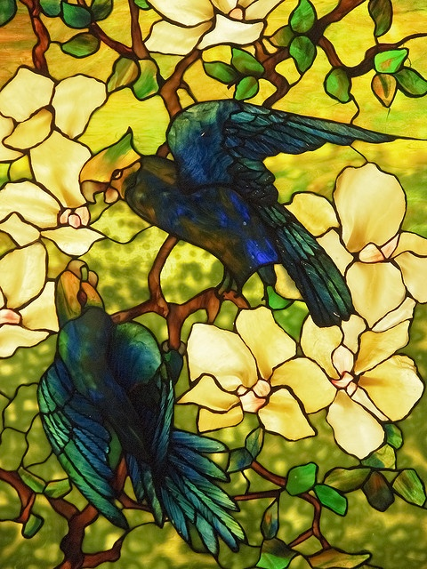 Louis Comfort Tiffany. Hibiscus and Parrots. Stained Glass. Metropolitan Museum. NY by miguelno, via Flickr