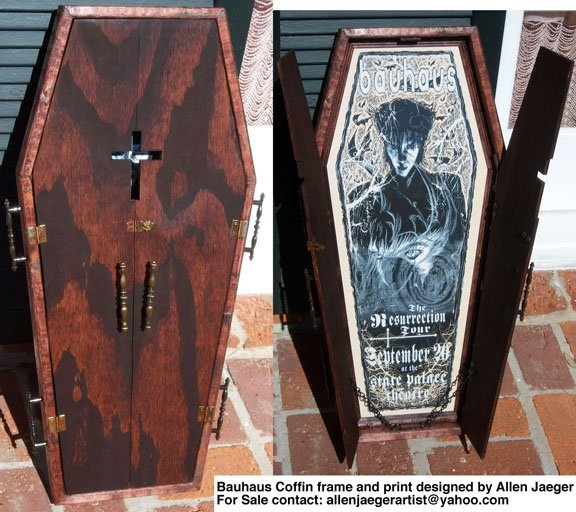 Bauhaus 1998 resurrection tour coffin silkscreen by Allen Jaeger with a custom build coffin frame. print is 14 x 28 in . contact allen at mailto:allenjaegerartist@yahoo.com with interest to obtain. print only price - $110