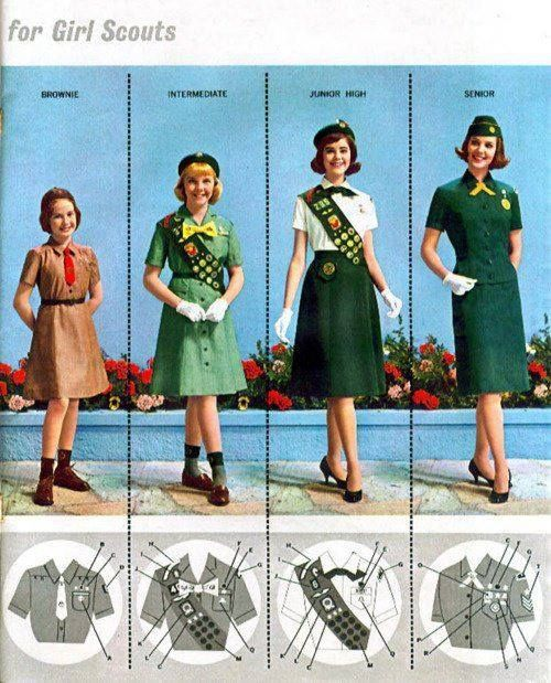 theswinginsixties:  1960s Girl Scout uniforms.  My girl scout uniforms were way different form these uniforms the sash too.