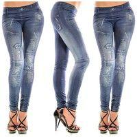 Wish | girls fashion New Stylish Gray Faux Jean Denim Like Women Leggings Pants (Size: One Size)