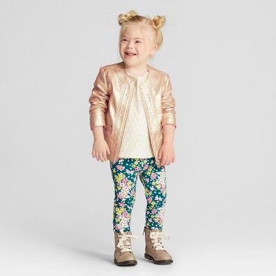 Toddler Girls' Floral Tregging Fashion Pants - Genuine Kids from OshKosh English Teal 3T, Blue