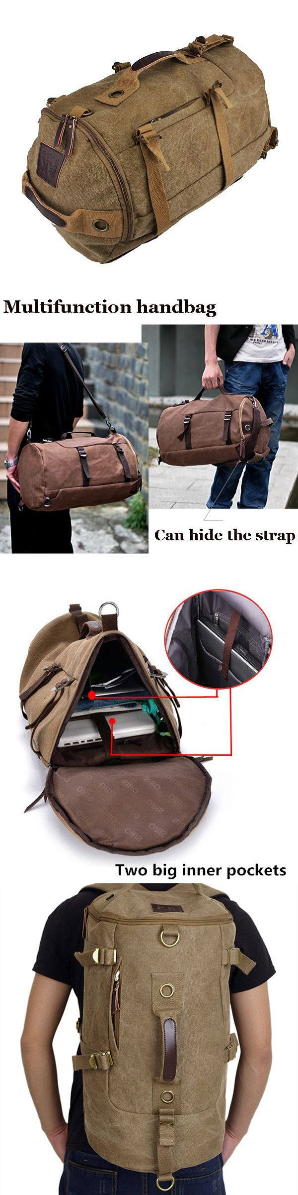$30.77 Men Dual-Use Canvas Bucket Backpack Jungle Climbing Bag