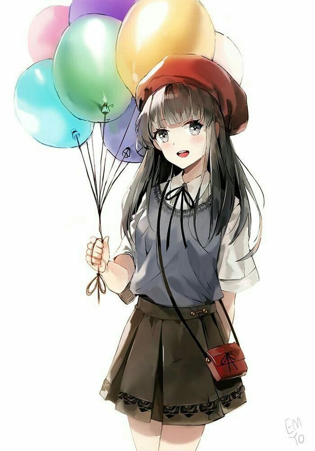 Fille Avec Des Ballons Dessin Kawaii Manga Dessin Kawaii