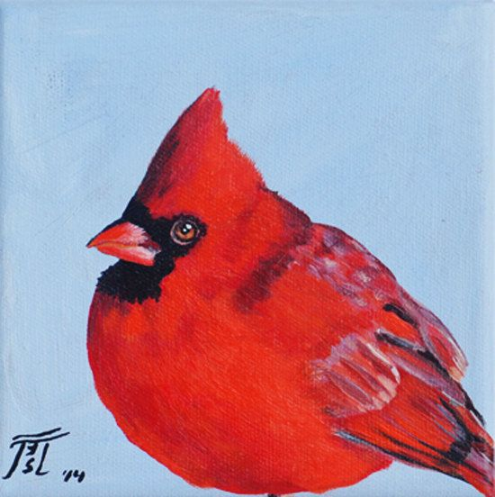RED CARDINAL Bird    This is an original painting of an adorable Red Cardinal Bird.    This small painting will make a very unique gift to a person you