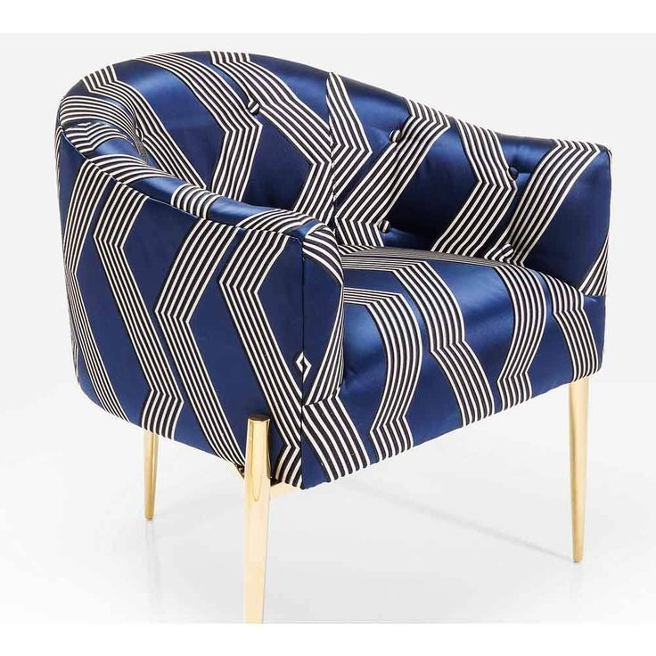 Kimono Chair | Embroidered Navy Blue Chair with Gold Legs