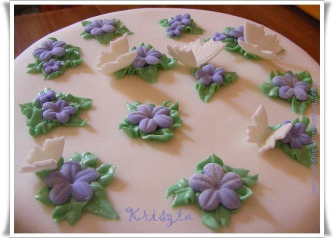 Cake with purple flowers