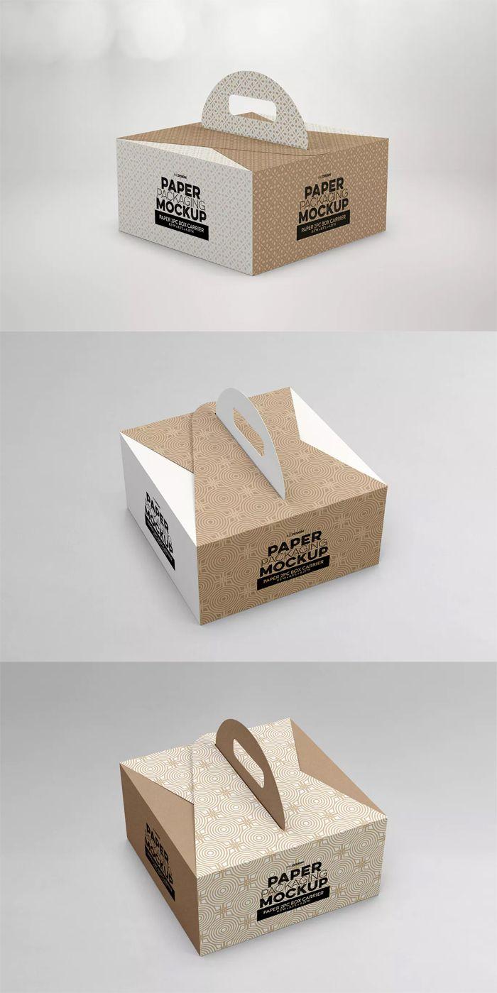 Download Paper Box Carrier Packaging Mockup Food Box Packaging Food Packaging Design Packaging Template Design