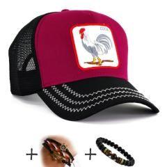 Bordo Siyah Renk COCK Horoz Şapka Fileli Cap Erkek Bayan