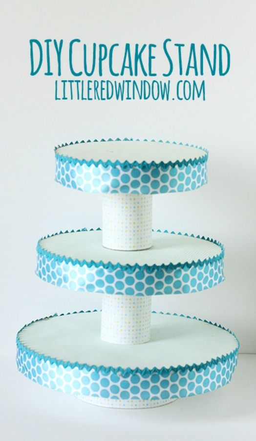 Make your own DIY Cupcake Stand out of items you already have at home! I can easily see this done in Disney themed paper to match your party theme!