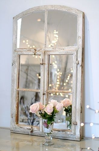 Lady-Gray-Dreams old window destressed made into a mirrior. the beauty of reflections. pretty for bedroom, bath or dining room.