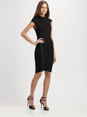 Helmut Lang  Sonar Zippered Wool Jersey Dress