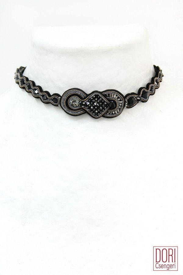 msnn316 , black necklaces , black collars , black chokers ,