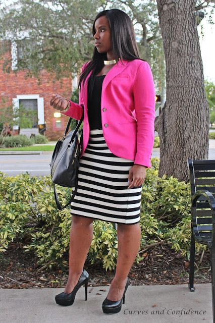 Hot Pink blazer with black and white skirt looks amazing.  A cobalt blue blazer would also look stunning.  Us full figured women need to abandon our fear of horizontal stripes - forget what the 'fashion rules' and wear what you love. www.curvesandconfidence.com