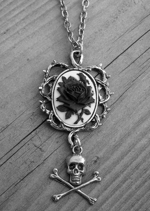 Black and White Rose and Thorns Silver Cameo Skull and Crossbones Necklace Victorian Gothic Goth Black Rose Necklace Cameo Jewelry Pirate